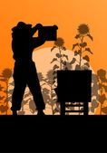 Beekeeper working in apiary vector background in sunflower field — Vettoriale Stock