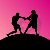 Boxeo a activos jóvenes hombres caja ba abstracta de deporte siluetas vector — Vector de stock