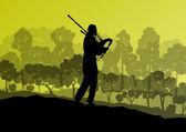 Scottish bagpiper silhouette landscape vector background concept — Stock Vector