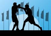 Boxing active young men box sport silhouettes vector abstract ba — Stock Vector