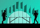 Tischtennis spieler silhouette ping pong vektor hintergrund in fr — Stockvektor