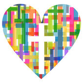 Christianity religion cross mosaic heart concept abstract backgr — Stock Vector