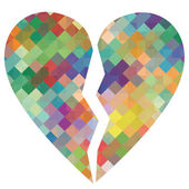 Broken love heart mosaic abstract background concept illustratio — Stok Vektör