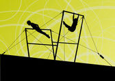 Active children sport silhouettes on uneven bars vector abstract — Vettoriale Stock