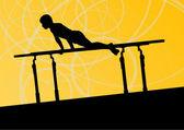 Aktywnych dzieci sport sylwetka na poręczach wektor abstrac — Wektor stockowy