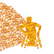 Man in wheelchair, disabled person vector abstract background co — Stock Vector