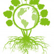 Tree world globe ecology vector background concept with roots — Vecteur