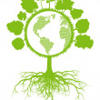 Tree world globe ecology vector background concept with roots — Vetorial Stock