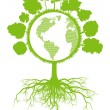 Tree world globe ecology vector background concept with roots — 图库矢量图片