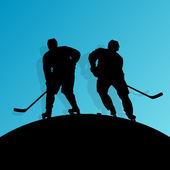 Aktywne młody człowiek hokeja na lodzie sport sylwetka na łyżwach w zimie s — Wektor stockowy