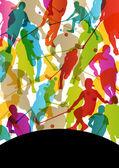 Floor ball players active men sport silhouettes vector abstract  — Vecteur