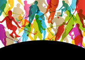 Floor ball players active men sport silhouettes vector abstract  — Vetorial Stock
