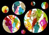 Floor ball players active men sport silhouettes vector abstract  — Stock vektor