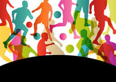 Soccer football players active sport silhouettes vector abstract — Stok Vektör