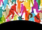 Kışın buz pateni aktif genç erkekler buz hokeyi spor silhouettes — Stok Vektör