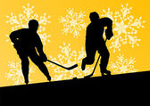 Active young men hockey players sport silhouettes in winter ice  — Stock Vector
