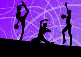 Active young girls calisthenics sport gymnasts silhouettes with  — Vector de stock