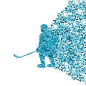 Hockey sur glace joueur silhouette sport vecteur abstrait fond co — Vecteur