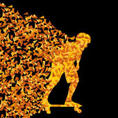 Skateboarder silhouette sport vector background concept made of  — Stok Vektör