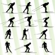 Active young man skiing set sport silhouette vector background — Stock Vector