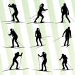 Active young womskiing set sport silhouette vector background — Stock Vector #41120425