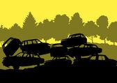 Old used automobile cars metal scrapyard graveyard landscape in — Stock Vector