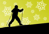 Active children skiing sport silhouettes in winter ice and snowf — Stok Vektör