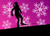 Active young woman girl skiing sport silhouette in winter ice an — Stock Vector