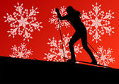 Active young woman girl skiing sport silhouette in winter ice an — Stockvector