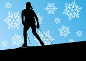 Active young woman girl skiing sport silhouette in winter ice an — Stockvektor