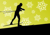Active young man skiing sport silhouette in winter ice and snowf — Stock Vector
