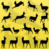 Doe venison deer wild forest animals silhouettes illustration co — Stock Vector