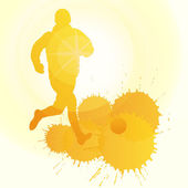 Occer players silhouette vector background concept with ink spla — Stockvektor
