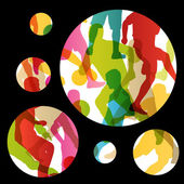 Soccer football players active sport silhouettes vector abstract — Stock Vector