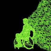 Man in wheelchair vector abstract background concept — Stock Vector