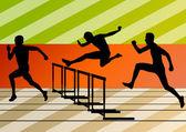 Active men sport athletics hurdles barrier running silhouettes i — Stock Vector