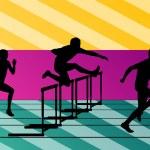 Постер, плакат: Active men sport athletics hurdles barrier running silhouettes i