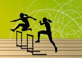 Silhou çalışan aktif kadınlar kız spor atletizm engelli bariyer — Stok Vektör