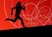 Active women sport athletics running silhouettes illustration ab — Stock Vector