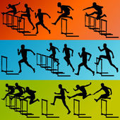 Active men sport athletics hurdles barrier running silhouettes i — Stock Vector