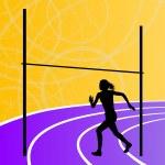 Постер, плакат: High jump athletics active woman girl sport silhouette concept i