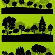 Forest trees silhouettes landscape illustration collection backg — Stock Vector #44673921
