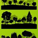 las siluetas de los árboles de bosque paisaje ilustración colección backg — Vector de stock  #44673921