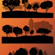 Forest trees silhouettes landscape illustration collection backg — Stock Vector #44674101