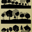 Forest trees silhouettes landscape illustration collection backg — Stock Vector #44674115