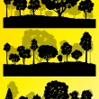 Forest trees silhouettes landscape illustration collection backg — Stock Vector #44674135