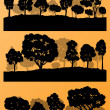 Forest trees silhouettes landscape illustration collection backg — Stock Vector #44674163