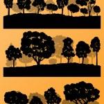 las siluetas de los árboles de bosque paisaje ilustración colección backg — Vector de stock