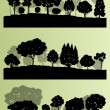 Forest trees silhouettes landscape illustration collection backg — Stock Vector #44674195
