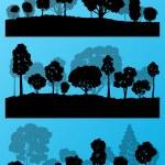 las siluetas de los árboles de bosque paisaje ilustración colección backg — Vector de stock  #44674197
